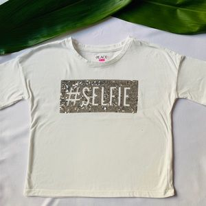 Girls PLACE Sliver Sequined Selfie White Tee